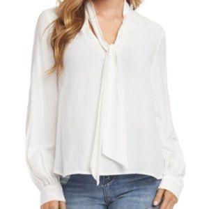 Karen Kane Sparkle-shoulder Crepe Top In Cream